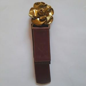 LOFT Stretchy Belt with Gold Flower and Leather